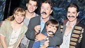 Stache of the Titans! Stephen Colbert and son John show off their black mustaches backstage at the Brooks Atkinson Theatre with Starcatcher stars Celia Keenan-Bolger, Adam Chanler-Berat and Matthew Saldivar.