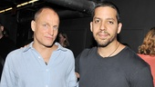 Woody Harrelson shares some opening night magic with star magician David Blaine.