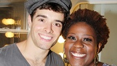 Newsies mama Capathia Jenkins gives Corey a big squeeze after his first performance.