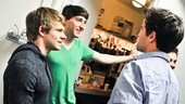 Newsies leads Andrew Keenan-Bolger (Crutchie), Ben Fankhauser (Davey) and Corey Cott (Jack Kelly) check in backstage at the Nederlander Theatre.
