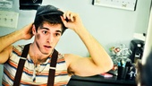 Newsies new star (and Broadway.coms new video blogger) Corey Cott gives himself one final look before taking the stage.