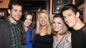 The many generations of Next to Normal come together for a family photo. From left: original cast member Adam Chanler-Berat, replacement stars Meghann Fahy and Marin Mazzie, original star Jennifer Damiano and Preston Sadleir, who toured with the show.