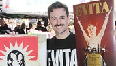 Max von Essen is on hand to meet Evita fans and sell some of the show's goods.