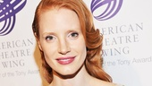 The always graceful Heiress star Jessica Chastain dazzles in a gold dress.