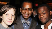 Director Kate Whoriskey, her husband, The Performers' Daniel Breaker, and Modern Terrorism star William Jackson Harper catch up after the show.