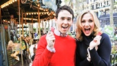 Garett and Steffanie show off their tickets for the Bryant Park merry-go-round!