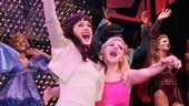The actual female stars of Kinky Boots, Celina Carvajal and Annaleigh Ashford, share an opening night hug during the curtain call.