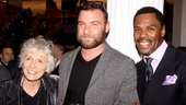 Gail Papp (widow of Public Theater founder Joe Papp), actor Liev Schreiber and Colman Domingo celebrate in the Public's gorgeously renovated lobby.