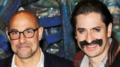 Stanley Tucci shares a laugh backstage at Peter and the Starcatcher with star Matthew Saldivar.