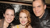 Grace stars (and real-life partners) Kate Arrington and Michael Shannon congratulate Chastain—she and Shannon played husband and wife in Take Shelter.