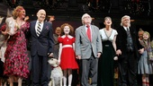 Annie creators Charles Strouse, Thomas Meehan and Martin Charnin join the shows leading ladies for one final opening night bow.
