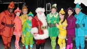 The full company of Elf comes together to celebrate the show's Broadway return. From left: Michael Mandell, Valerie Wright, Adam Heller, Mitchell Sink, Wayne Knight, Jordan Gelber, Leslie Kritzer, Beth Leavel and Marc Jacoby.