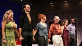 The Performers stars Jenni Barber, Cheyenne Jackson, Ari Graynor, Henry Winkler, Alicia Silverstone and Daniel Breaker join hands after their opening night performance.