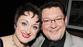 Caroline O'Connor receives some opening night love from her hubby, musician Barrie Shaw.
