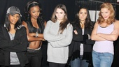 "Bring It On stars Adrienne Warren and Taylor Louderman strike McKayla Maroney's signature ""not impressed"" pose with Maroney and her U.S. Olympic gymnast teammates Gabby Douglas and Aly Raisman."