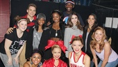 The gymnastics girls grab a photo op with the stars of Bring It On: Ryann Redmond, Neil Haskell, Ariana DeBose, Elle McLemore, Adrienne Warren, Dominique Johnson, Kate Rockwell and Taylor Louderman.