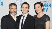 The talented stars of My Name Is Asher Lev, Mark Nelson, Ari Brand and Jenny Bacon, are all smiles on opening night.