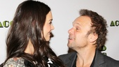 Onstage siblings Katie Holmes and Norbert Leo Butz clown around on the red carpet.
