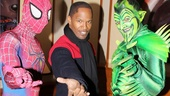 Jamie Foxx strikes a web-slinging pose with Spider-Man stars Reeve Carney and Robert Cuccioli as Green Goblin. 