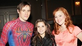 Carly Rose Sonenclar cozies up between Spider-Man stars Reeve Carney and Rebecca Faulkenberry. 