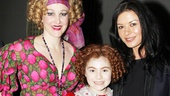 Katie Finneran and Lilla Crawford are happy to welcome Tony winner and Chicago and Rock of Ages film star Catherine Zeta-Jones backstage at Broadway's Annie.