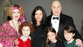 Movie and stage star Catherine Zeta-Jones and her kids, Carys Zeta Douglas and Dylan Michael Douglas, congratulate Annie stars Katie Finneran, Lilla Crawford and Merwin Foard (on as Daddy Warbucks).