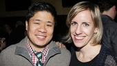 Set designer Wilson Chin and costume designer Jessica Ford pose for a quick opening photo.
