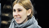 Girls star Zosia Mamet settles in as the cast of Really Really arrives for rehearsal. 