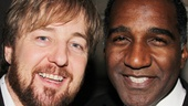 Les Miz alums John Owen-Jones and Norm Lewis reunite at Phantom's 25th anniversary.