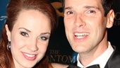 The Phantom of the Opera stars Sierra Boggess and Hugh Panaro make a triumphant entrance at the New York Public Library for their gala post-performance celebration.