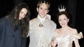 Hollywood and Broadway royalty Katie Holmes congratuates Santino Fontana and Laura Osnes.