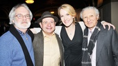 John Weidman and Sheldon Harnick flank Fiorello! stars Danny Rutigliano and Erin Dilly.