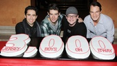 The Four Seasons pose with their shows celebratory cake: John Lloyd Young (Frankie Valli), Drew Gehling (Bob Gaudio), Jeremy Kushnier (Tommy DeVito) and Matt Bogart (Nick Massi).
