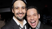 Lin-Manuel Miranda shares a giant laugh with his onstage cousin Sonny, memorably played by Tony nominee Robin de Jesus.