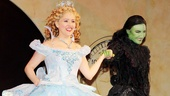 Wicked's stars Alli Mauzey and Willemijn Verkaik arrive hand in hand for Verkaik's opening night bow.