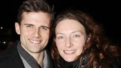 Kyle Dean Massey can't help but stop for another more photo with Willemijn at the stage door.