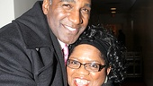 Norm Lewis gives a huge hug to the evenings conductor Sheilah Walker.