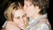 Girls&#39; creator, writer, director and star Lena Dunham gives a huge kiss to her friend and co-star Zosia Mamet. 