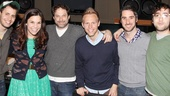 Co-composer Benj Pasek, star Lindsay Mendez, album producer Kurt Deutsch, co-composer Justin Paul, music director Bryan Perri and book writer Peter Duchan come in for a snapshot.