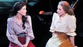 "Kelli O'Hara (Julie Jordan) and Jessie Mueller (Carrie Pipperidge) share the stage as Mueller sings ""You're a Queer One, Julie Jordan."""
