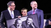Librettist Douglas Carter Beane and director Mark Brokaw flank Santino Fontana and a photo of Cinderella composers Rodgers and Hammerstein.