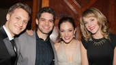 Bonnie &amp; Clyde alums Jeremy Jordan and Laura Osnes and flanked by Osnes&#39; husband Nathan Johnson and Jordan&#39;s wife Ashley Spencer. So. Cute.