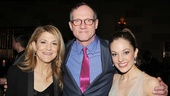 Mark Brokaw is bookended by his lovely leading ladies Victoria Clark and Laura Osnes.