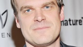 David Harbour is on hand to support his Virginia Woolf co-star Bill Irwin and David Shiner on opening night.