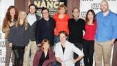 The company of Lincoln Center Theater's The Nance gathers for a final photo. From left: Mylinda Hull, Jenni Barber, Jonny Orsini, Nathan Lane, Megan Sikora, Cady Huffman, Matthew Goodrich, Lewis J. Stadlen, Andrea Burns and Geoffrey Allen Murphy.