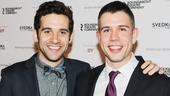 Peter and the Starcatcher grad Adam Chanler-Berat grabs a photo op with playwright Stephen Karam (Sons of the Prophet).
