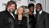 Public Theater Artistic Director Oskar Eustis and his wife Laurie congratulate Detroit 67 director Kwame Kwei-Armah (r., with his wife).