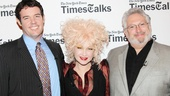 Moderator Patrick Healy poses for a shot with Kinky creators Cyndi Lauper and Harvey Fierstein.