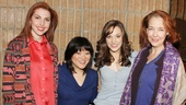 Cinderellas family unit, Marla Mindelle, Ann Harada, Laura Osnes and Harriet Harris, smile for a photo before heading into the booth to record the comical song A Lovely Night.