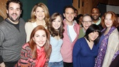 Cinderella stars arrive at MSR studios to record the Rodgers and Hammerstein musical's original Broadway cast album. From left: Greg Hildreth, Victoria Clark, Marla Mindelle, Laura Osnes, Santino Fontana, Peter Bartlett, Phumzile Sojola, Ann Harada and Harriet Harris.